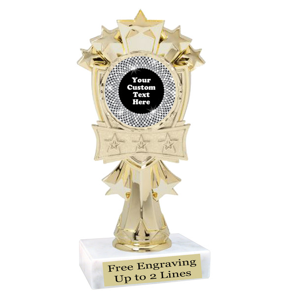 """Custom trophy with sequin design artwork.  Choice of 6 colors.  6"""" tall.  mf3260"""