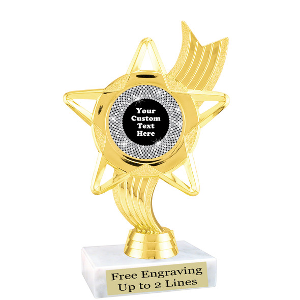 """Custom trophy with sequin design artwork.  Choice of 6 colors.  6"""" tall.   ph27"""