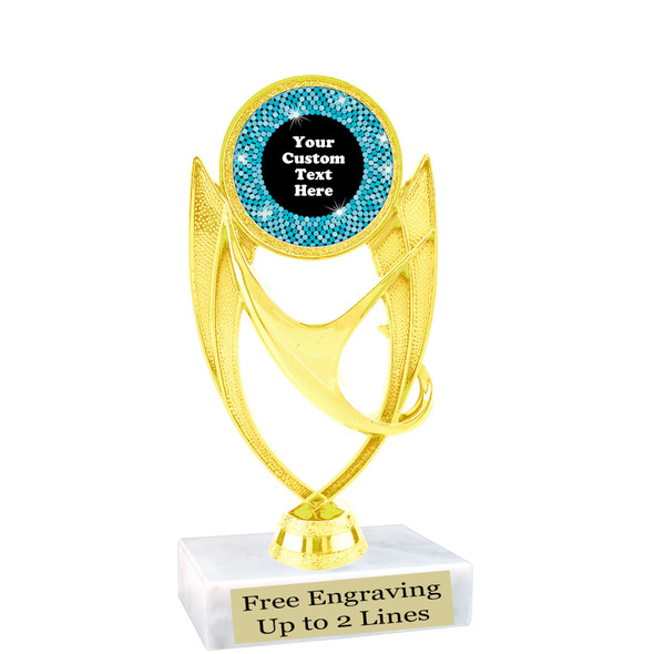 """Custom trophy with sequin design artwork.  Choice of 6 colors.  6"""" tall.   ph28"""