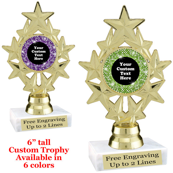 """Custom trophy with sequin design artwork.  Choice of 6 colors.  6"""" tall.   ph75"""