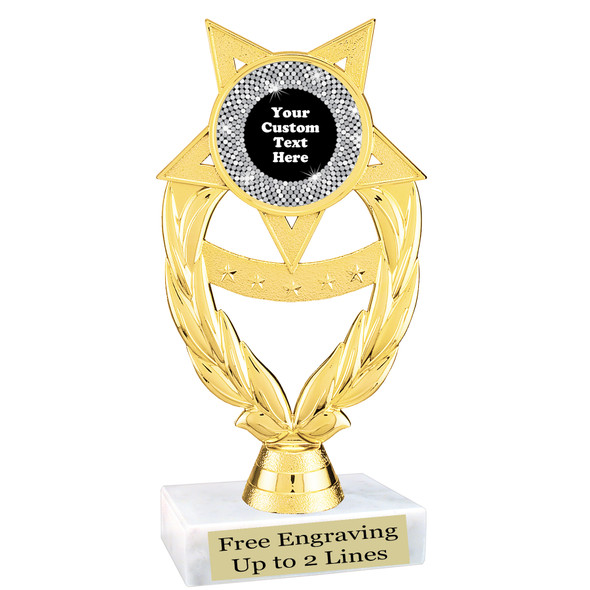 """Custom trophy with sequin design artwork.  Choice of 6 colors.  6"""" tall.   ph97"""