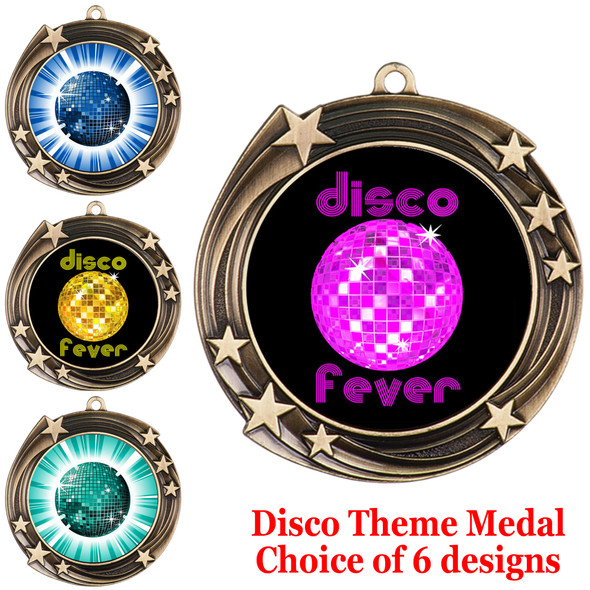 Disco theme medal.  Choice of 6 designs.  Includes free engraving and neck ribbon.  (disco - 930G
