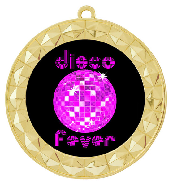 Disco theme medal.  Choice of 6 designs.  Includes free engraving and neck ribbon.  (disco - 935g