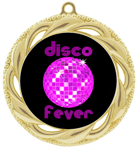 Disco theme medal.  Choice of 6 designs.  Includes free engraving and neck ribbon.  (disco - 938g