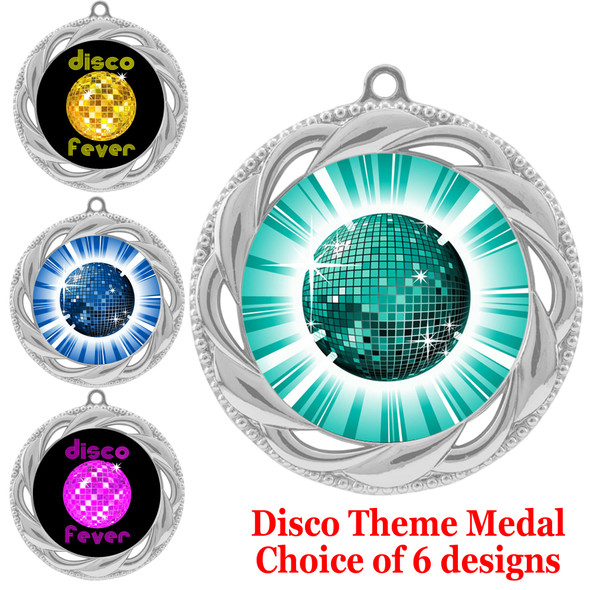Disco theme medal.  Choice of 6 designs.  Includes free engraving and neck ribbon.  (disco - 938s