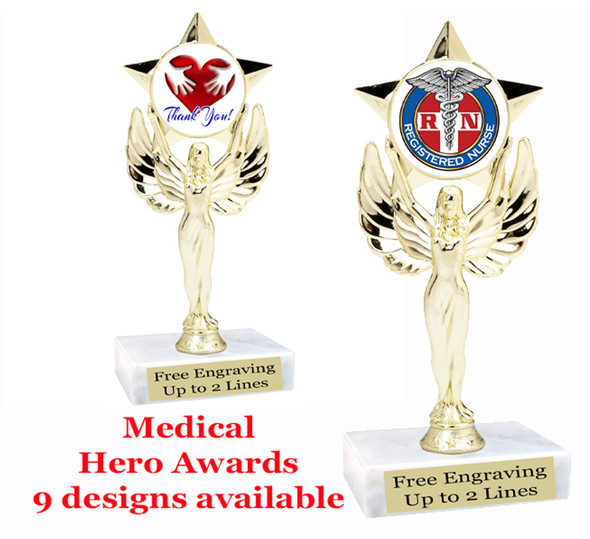"Medical Hero theme trophy with choice of art work.  6"" tall. (7517"