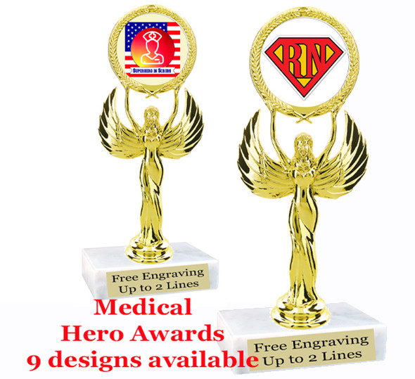"Medical Hero theme trophy with choice of art work.  6"" tall  (80087"