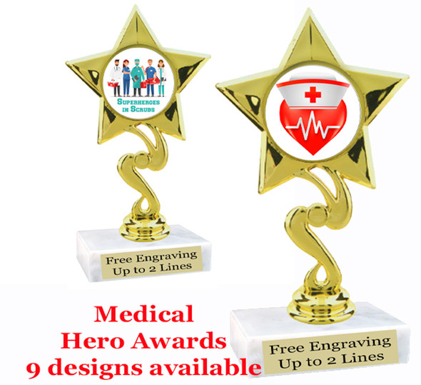 "Medical Hero theme trophy with choice of art work.  6"" tall  (80106"