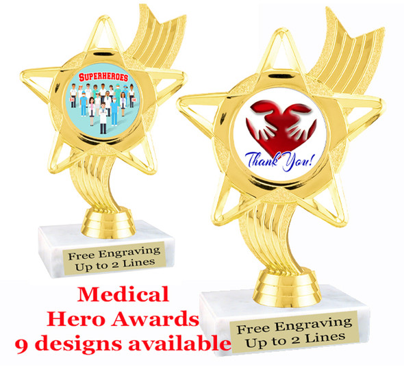 "Medical Hero theme trophy with choice of art work.  6"" tall  (ph27"