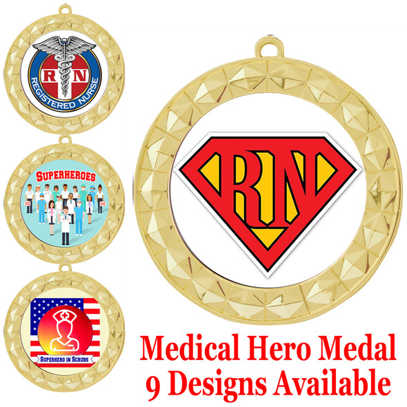 Medical hero theme medal.  Choice of 9 designs.  Includes free engraving and neck ribbon.  (hero - 935g