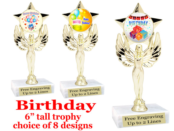 """Birthday theme trophy with choice of art work. Great party favor!  6"""" tall  (7517"""