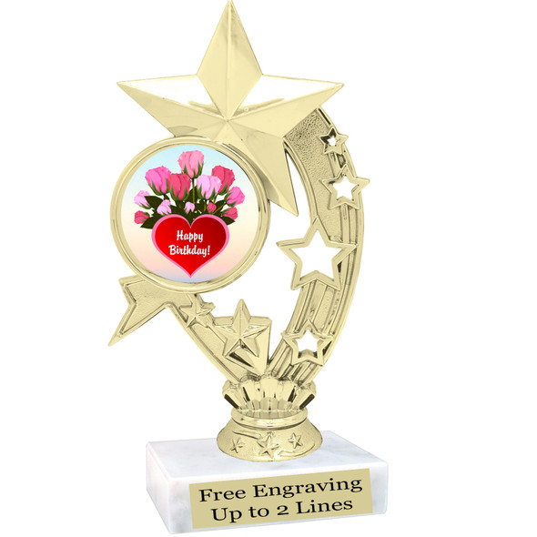 """Birthday theme trophy with choice of art work. Great party favor!  6"""" tall  (h208"""