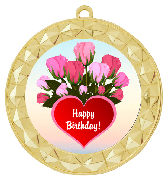 Birthday  theme medal.  Choice of 8 designs.  Includes free engraving and neck ribbon.  (bday - 935g