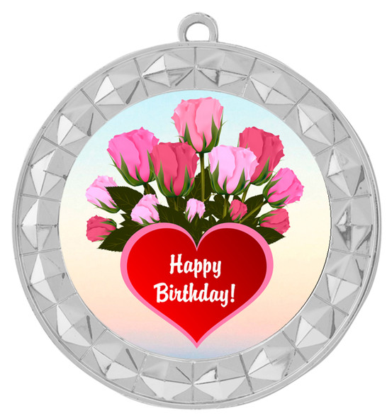 Birthday  theme medal.  Choice of 8 designs.  Includes free engraving and neck ribbon.  (bday - 935s
