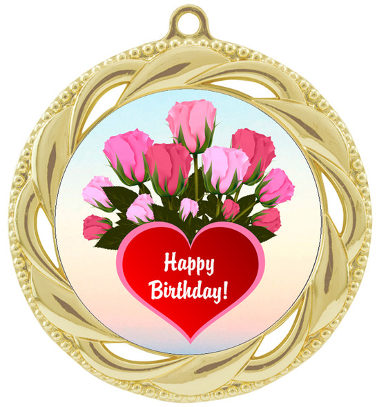 Birthday  theme medal.  Choice of 8 designs.  Includes free engraving and neck ribbon.  (bday - 938g