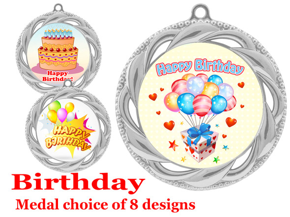 Birthday  theme medal.  Choice of 8 designs.  Includes free engraving and neck ribbon.  (bday - 938s