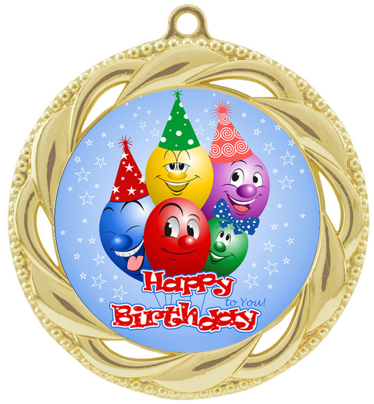 Kids Birthday  theme medal.  Choice of 8 designs.  Includes free engraving and neck ribbon.  (bday - 938g