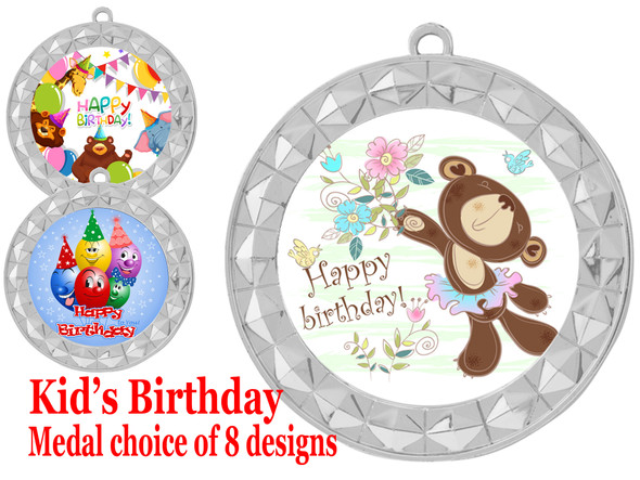Kids Birthday  theme medal.  Choice of 8 designs.  Includes free engraving and neck ribbon.  (bday - 935s