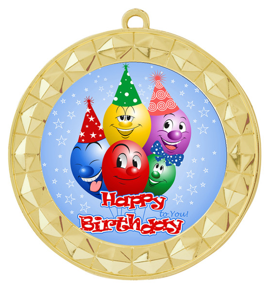 Kids Birthday  theme medal.  Choice of 8 designs.  Includes free engraving and neck ribbon.  (bday - 935g