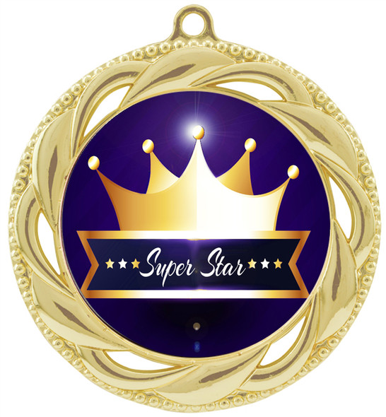 Super Star theme medal.  Choice of 9 designs.  Includes free engraving and neck ribbon.  ( 938g