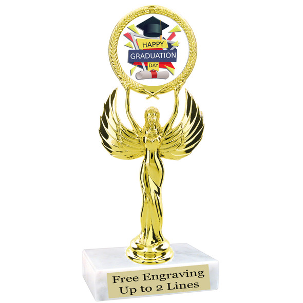 """Graduation theme  trophy with choice of art work.   6"""" tall  80087"""