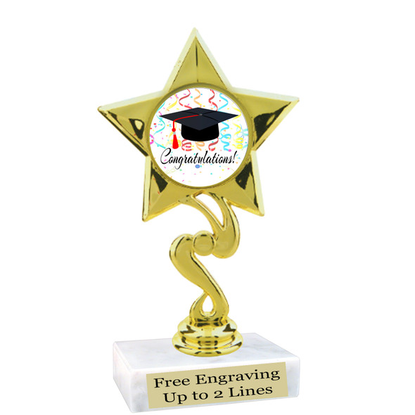 """Graduation theme  trophy with choice of art work.   6"""" tall  80106"""