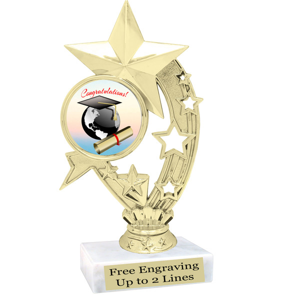 """Graduation theme  trophy with choice of art work.   6"""" tall  H208"""