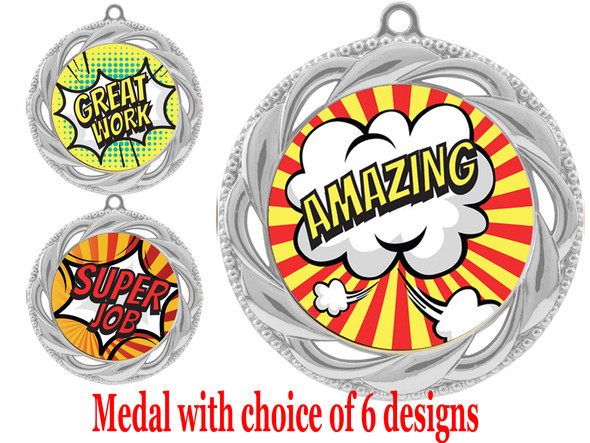 Student Encouragement theme medal.  Choice of 6 designs.  Includes free engraving and neck ribbon.  ( 938s