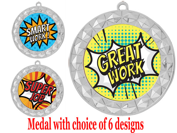 Student Encouragement theme medal.  Choice of 6 designs.  Includes free engraving and neck ribbon.  ( 935s