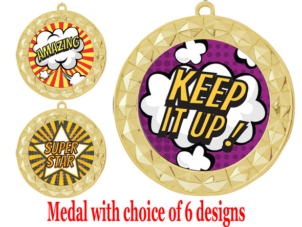 Student Encouragement theme medal.  Choice of 6 designs.  Includes free engraving and neck ribbon.  ( 935g
