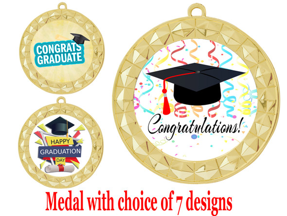 Graduation theme medal.  Choice of 7 designs.  Includes free engraving and neck ribbon.  ( 935g