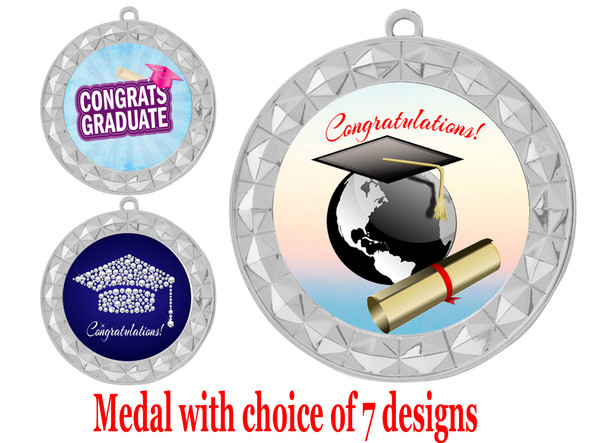 Graduation theme medal.  Choice of 7 designs.  Includes free engraving and neck ribbon.  ( 935s