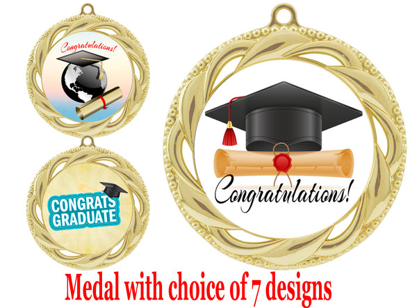 Graduation theme medal.  Choice of 7 designs.  Includes free engraving and neck ribbon.  ( 938g