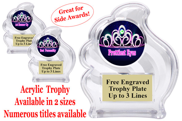 "NEW!  Acrylic ""Wave"" trophy available in 2 sizes!  Numerous titles available. (wav title 002"