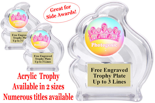 "NEW!  Acrylic ""Wave"" trophy available in 2 sizes!  Numerous titles available. (wav title 003"