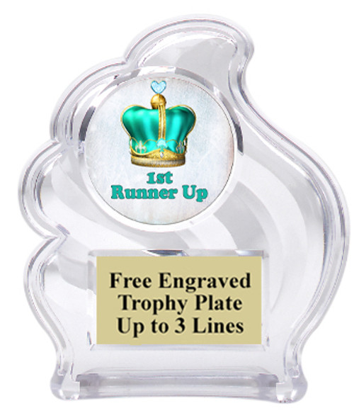 "NEW!  Acrylic ""Wave"" trophy available in 2 sizes!  Numerous titles available. (wav title 004"