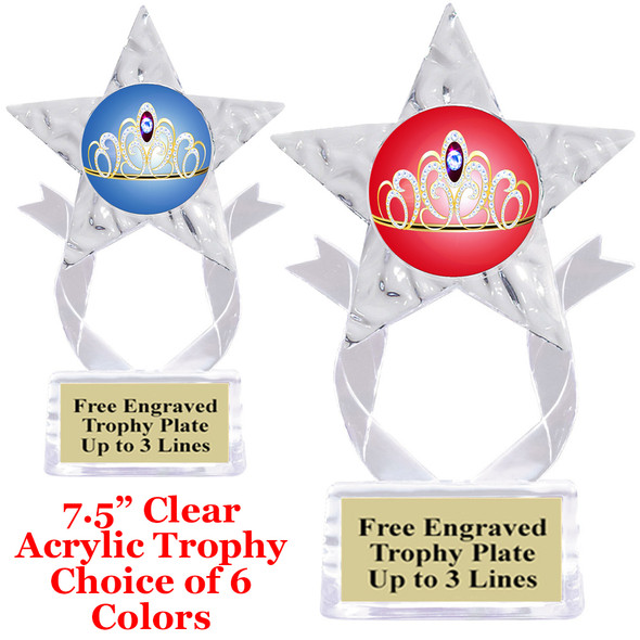 "NEW!  Acrylic Star trophy with choice of insert.  7.5"" tall.  Great economy award for all events!"