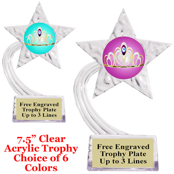 "NEW!  Acrylic Star trophy with choice of insert.  7.5"" tall.  Great economy award for all events!  std75-001"