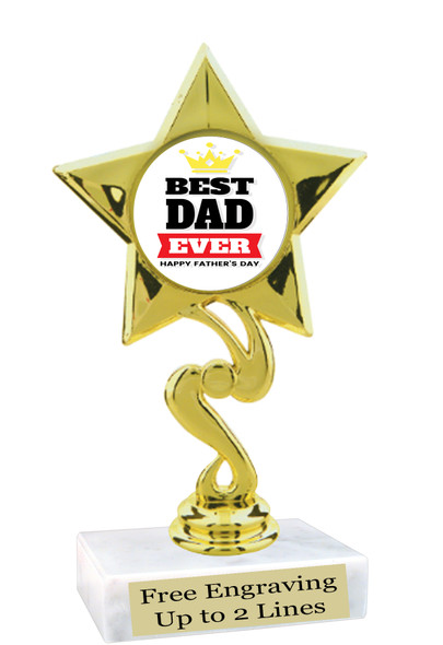 """Dad theme trophy with choice of 8 designs.  6"""" tall.  Our exclusive designs!  (80106"""