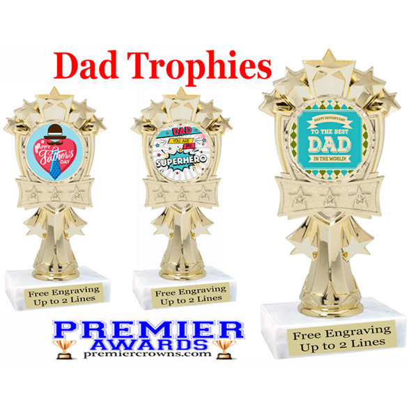"""Dad theme trophy with choice of 8 designs.  6"""" tall.  Our exclusive designs!  (mf3260"""