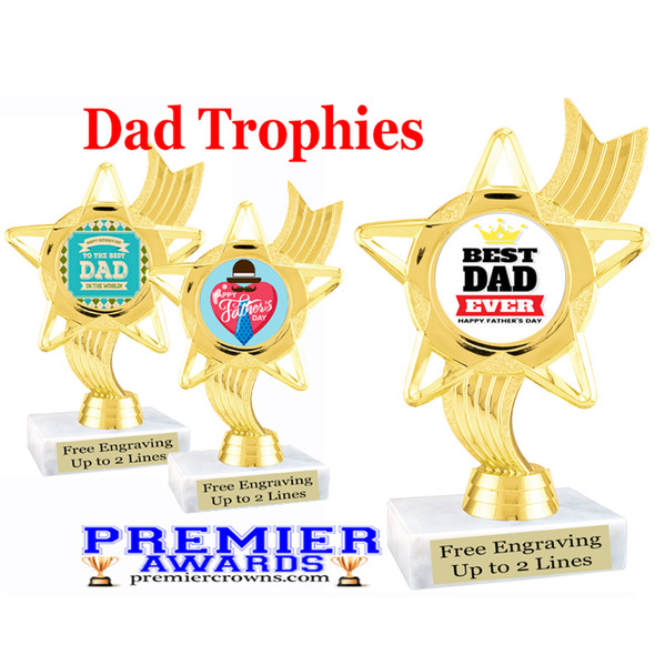 """Dad theme trophy with choice of 8 designs.  6"""" tall.  Our exclusive designs!  (ph27"""