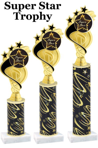 Super Star  trophy with star art work insert.  Available in numerous trophy heights.   Super Star