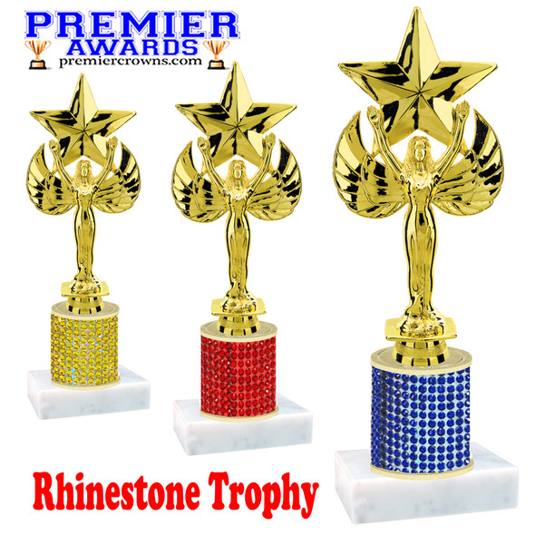 Rhinestone Trophy!  Victory with star Figure. Column is completely covered with rhinestones.  Choice of stone color and trophy height.