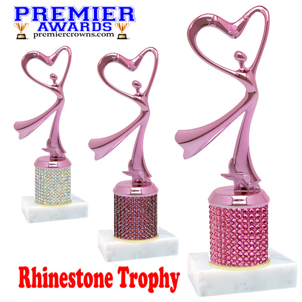 Rhinestone Trophy! Pink Flowing Victory with heart Figure. Column is completely covered with rhinestones.  Choice of stone color and trophy height.