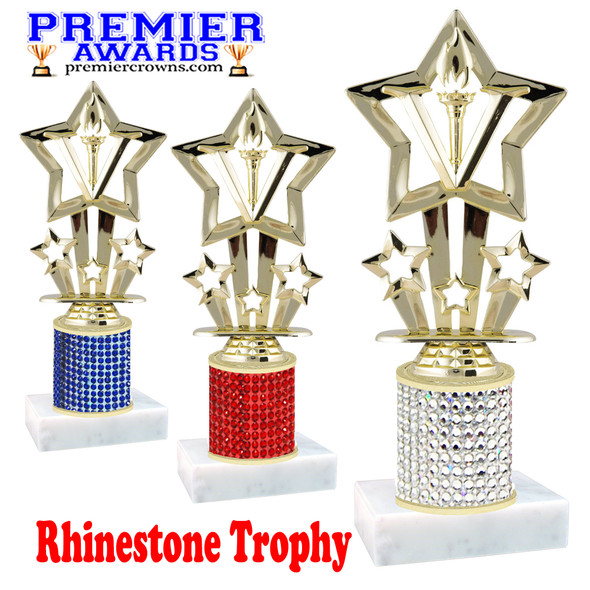Rhinestone Trophy! Star Figure. Column is completely covered with rhinestones.  Choice of stone color and trophy height.