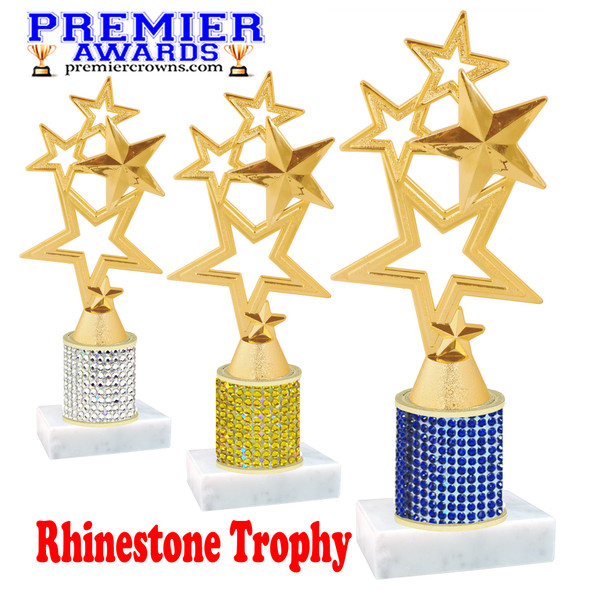 Rhinestone Trophy! Star Figure. Column is completely covered with rhinestones.  Choice of stone color and trophy height.   4115