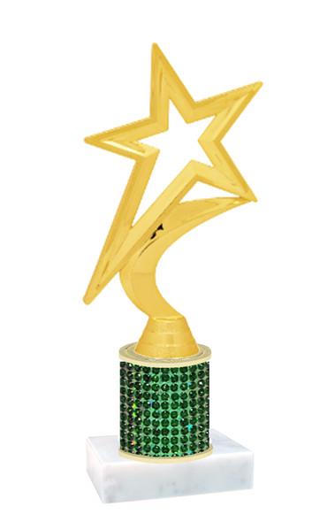 Rhinestone Trophy! Star Figure. Column is completely covered with rhinestones.  Choice of stone color and trophy height.   5000