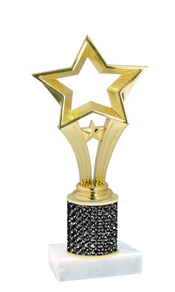 Rhinestone Trophy! Star Figure. Column is completely covered with rhinestones.  Choice of stone color and trophy height.   90506