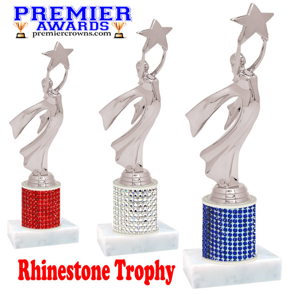 Rhinestone Trophy! Silver Modern Victory Figure. Column is completely covered with rhinestones.  Choice of stone color and trophy height.