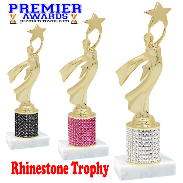 Rhinestone Trophy! Gold Modern Victory Figure. Column is completely covered with rhinestones.  Choice of stone color and trophy height.